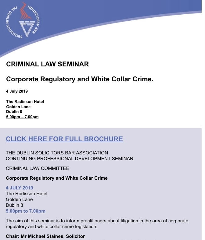 Michael Staines to chair White Collar Crime Seminar